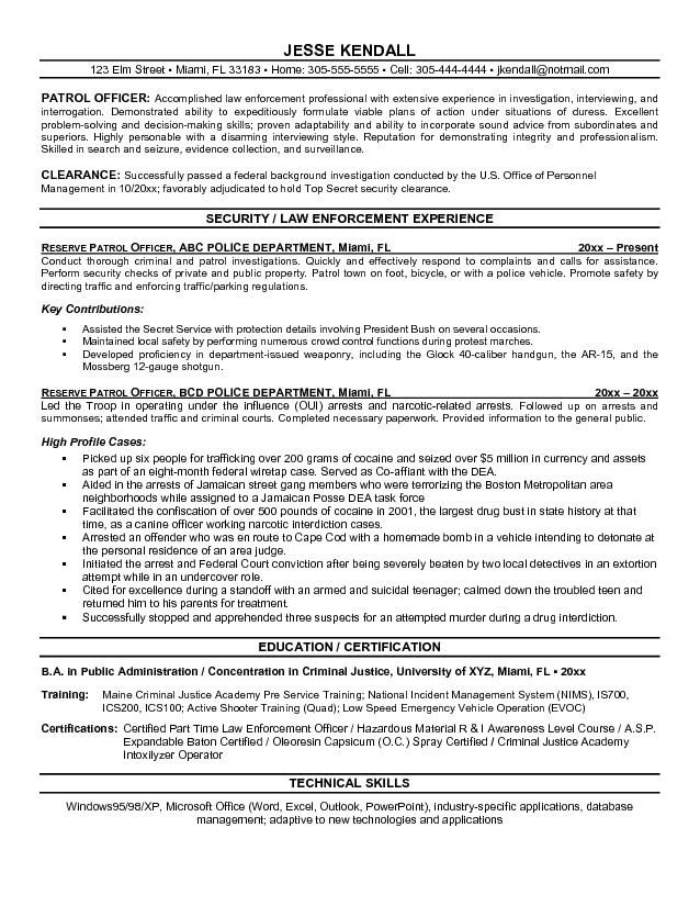 secret service resumes - Police Officer Resume Templates