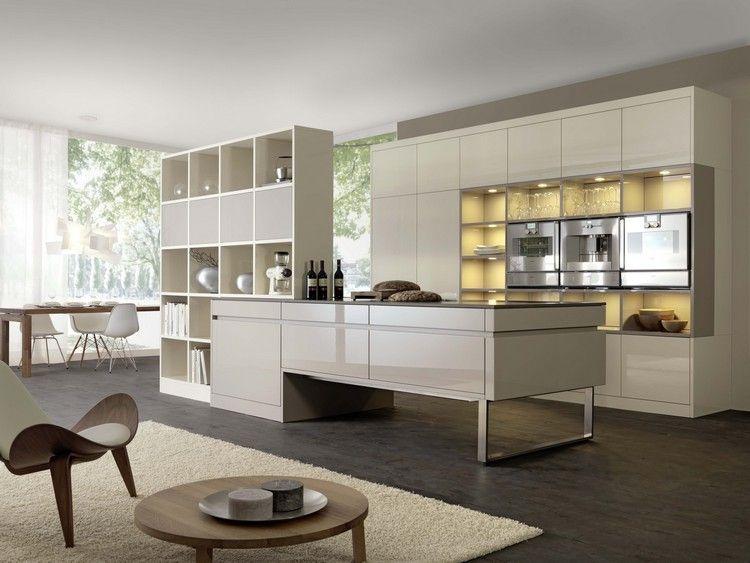 cuisines ouvertes - mobilier blanc laqué, table du0027appoint en bois