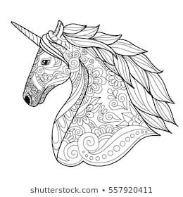 Drawing unicorn zentangle style for coloring book, tattoo ...