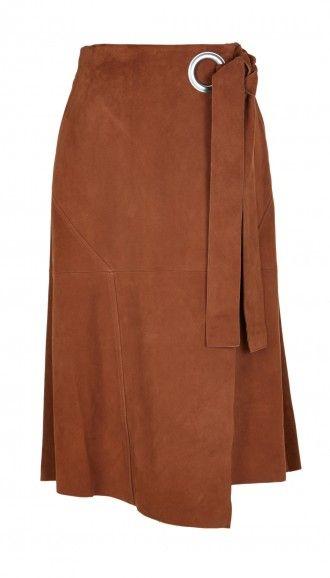 6e5863a13158c5 Suede Wrap Skirt