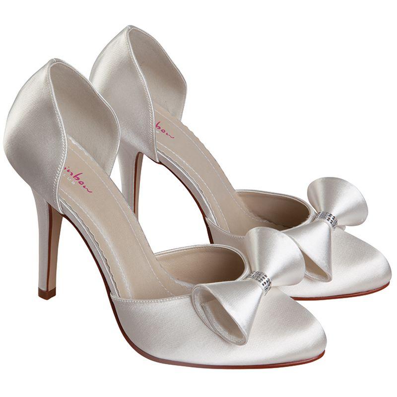 Rainbow Club Kerrie Dyeable Ivory Satin Wedding Shoes Bridal Uk Size 3 8 Rrp79