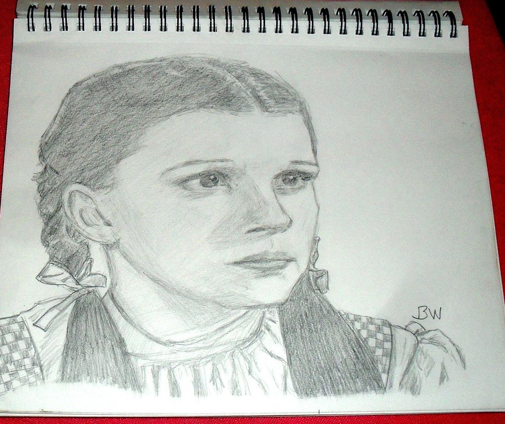 DOROTHY FROM WIZARD OF OZ/JUDY GARLAND/PENCIL DRAWING SIGNED BY ARTIST   BW