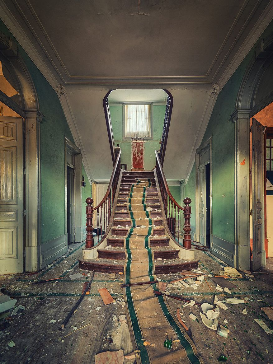 Inside Old Abandoned Mansions Stairs