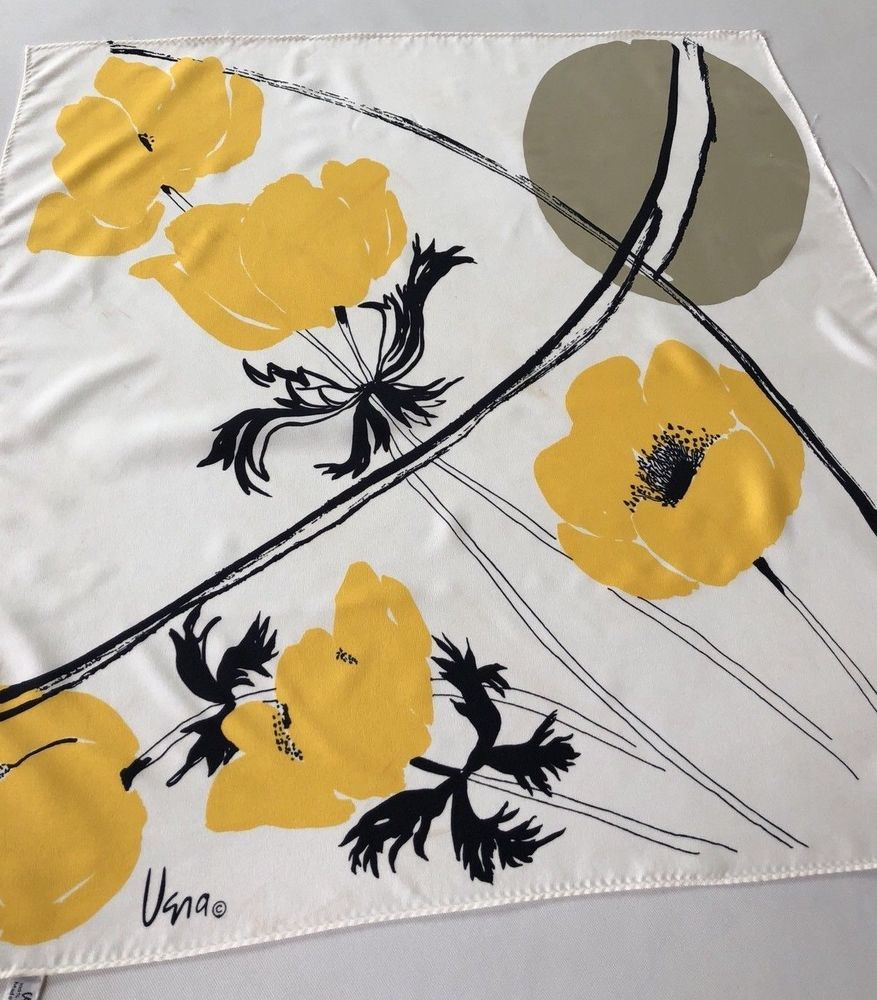 Vintage Vera Yellow And Black Large Flowers 21 X 21 Polyester Scar