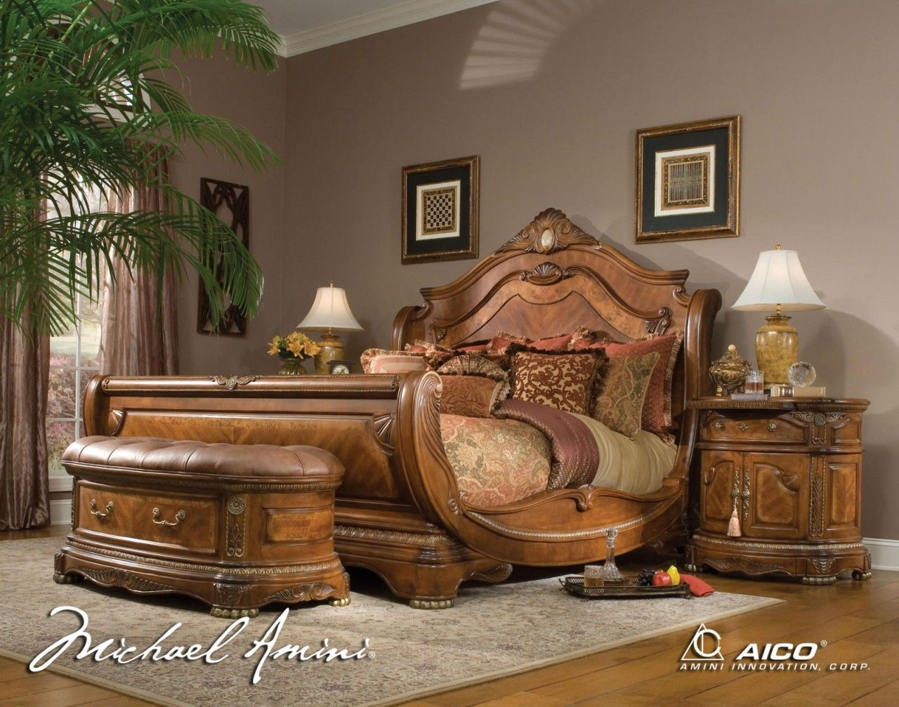 AICO Cortina II King Sleigh Bed Also Called The Hampton Court In Some  Stores. A