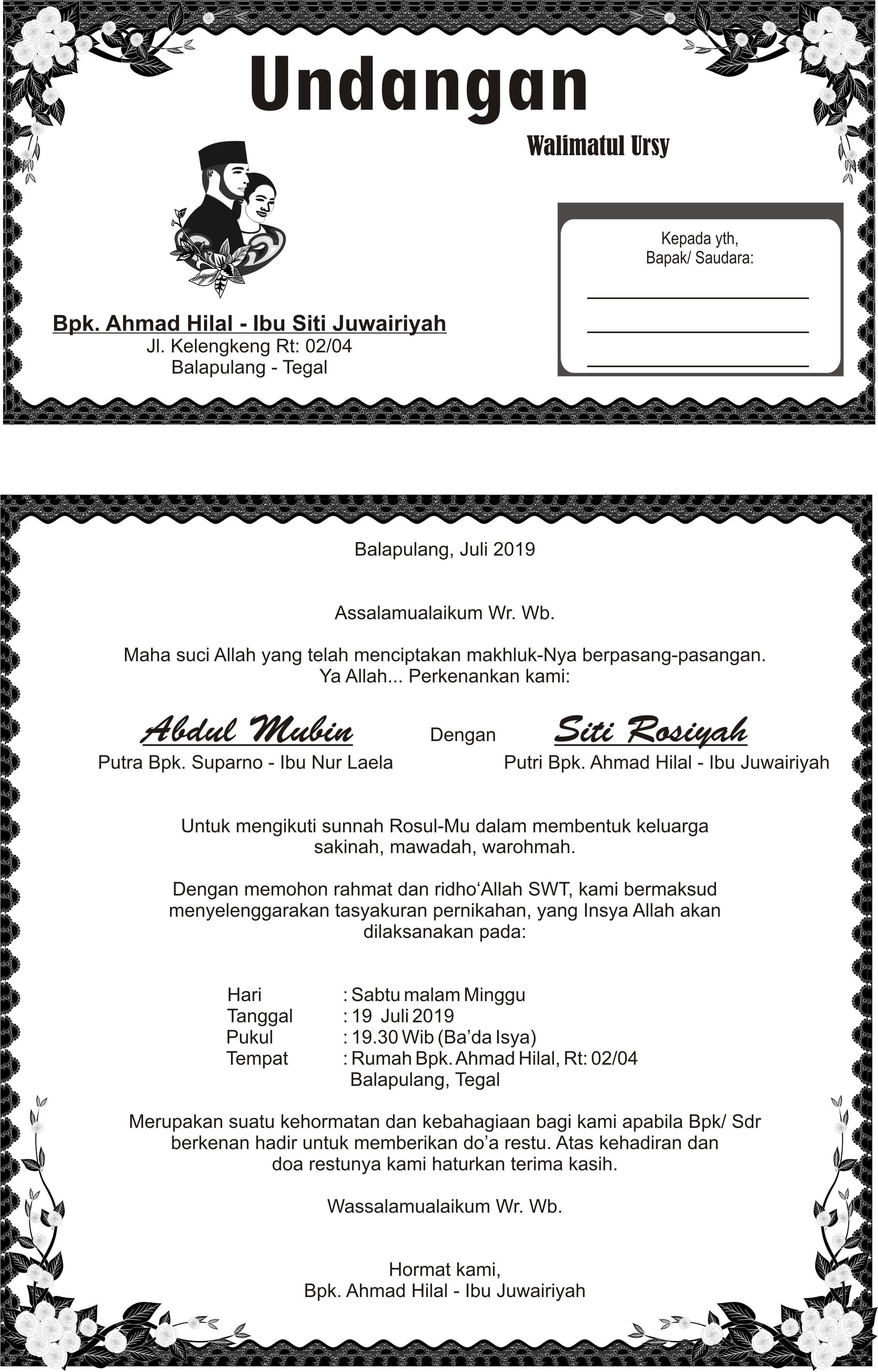 Undangan walimatul ursy siti rosiyah | Undangan, Jenis ...