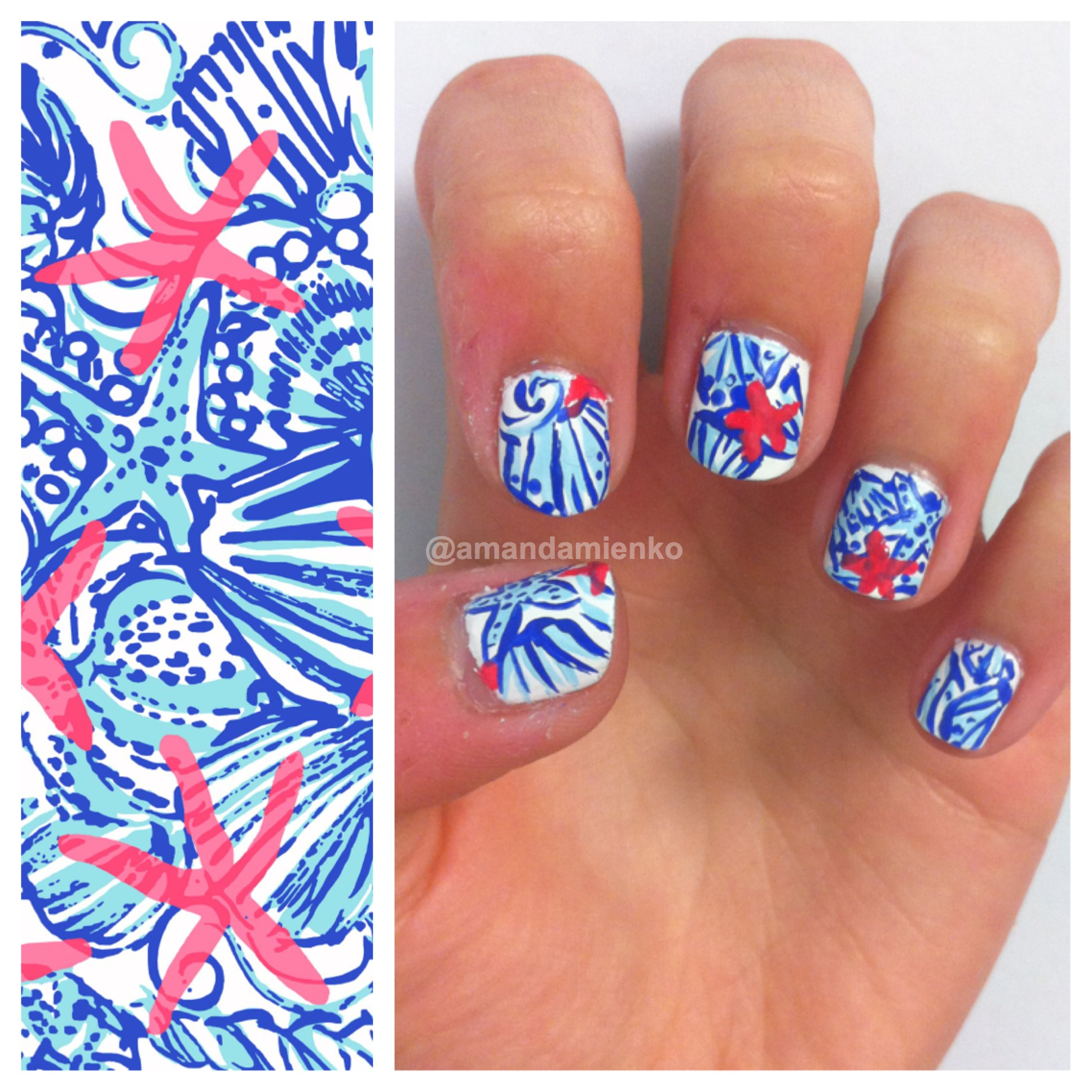 My Lilly Pulitzer Nail Art Design Inspired By The Print She Shells