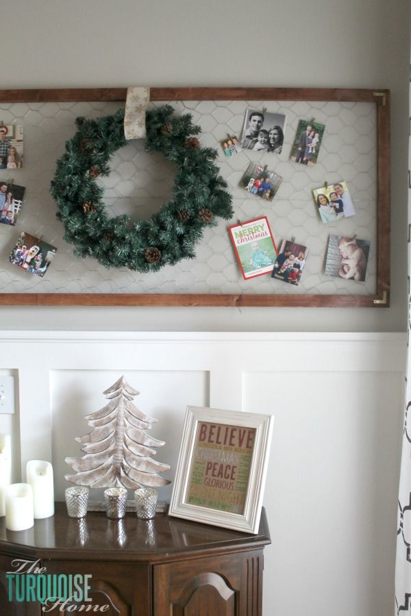 Easy Framed Chicken Wire Christmas Card Holder Simple