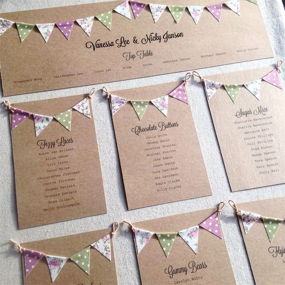 Bunting Is A Por Way Give Wedding Vintage Feel This Cute Table Plan