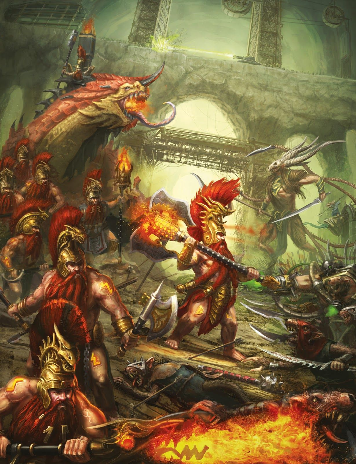 http://wellofeternitypl.blogspot.com/ Age of Sigmar Artwork | Fyreslayers vs Skaven #artwork #art #aos #warhammer #ageofsigmar #sigmar #arts #artworks #gw #gamesworkshop #wellofeternity #wargaming