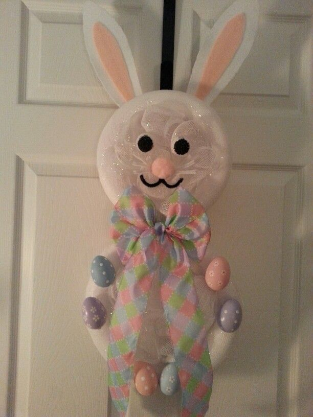 Bunny Mesh DIY Wreath-I used two sized foam wreaths and connected