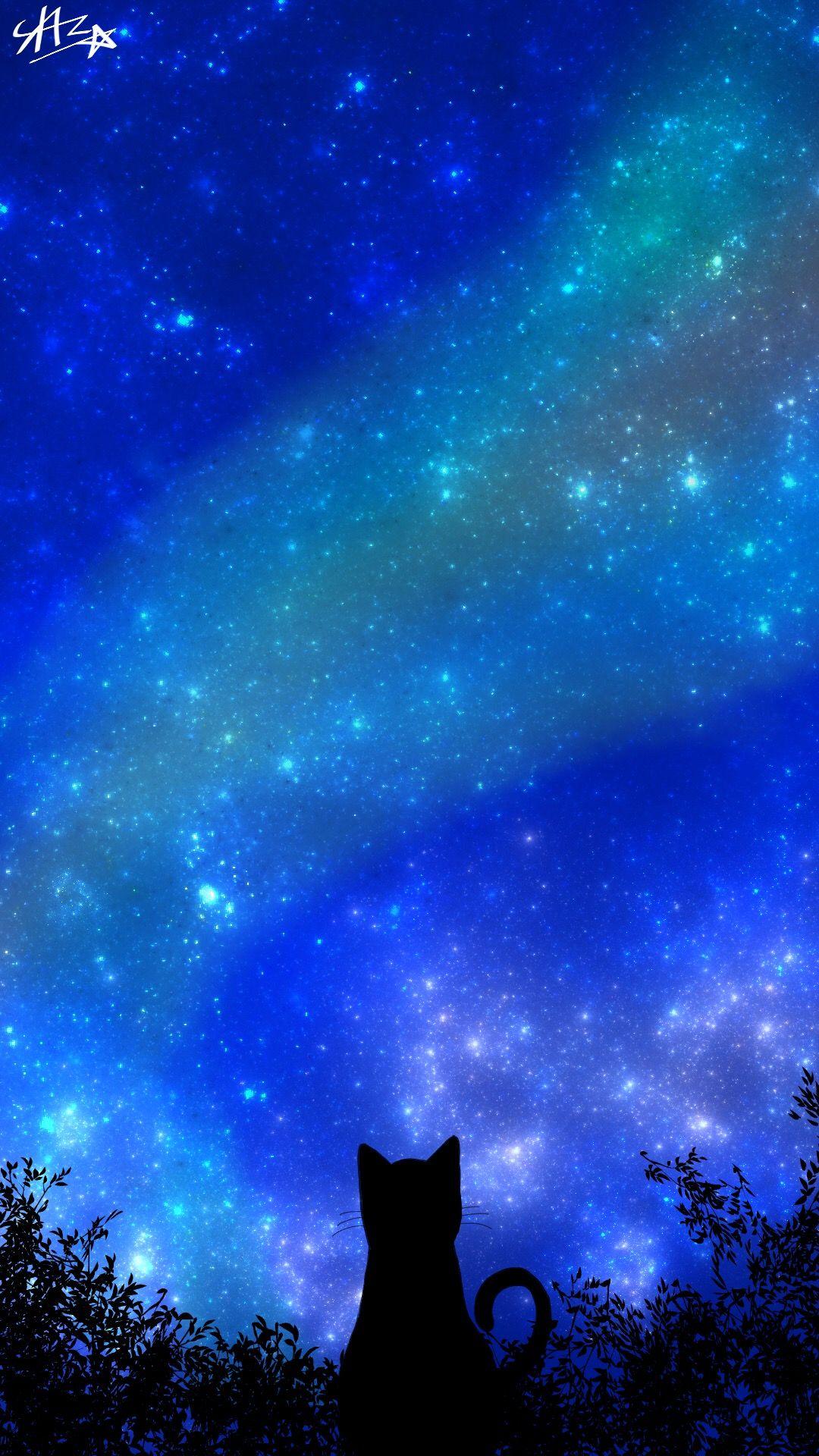 夜空と猫 壁紙 2020 星 壁紙 星空 イラスト 宇宙 壁紙