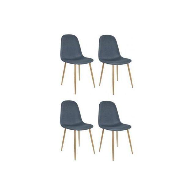 caracteristique du lot de 4 chaises scandinaves bleu lovea sur declikdeco caractristiques matire - Chaises Scandinaves Bleu