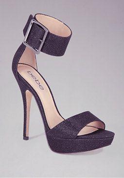 0ca7fa36a85 bebe Jill Glitter Mesh Ankle Sandals