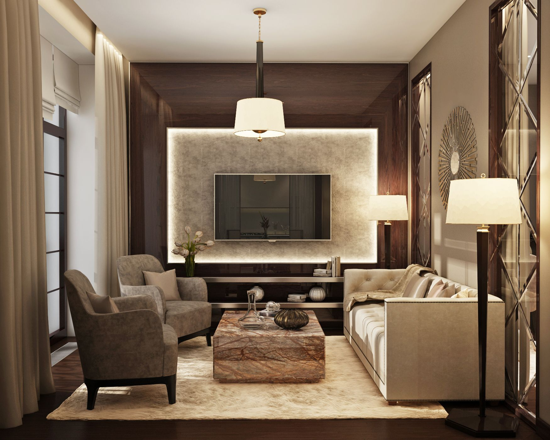 Marchenko pazyuk design small luxury apartment design for Apartment living room inspiration
