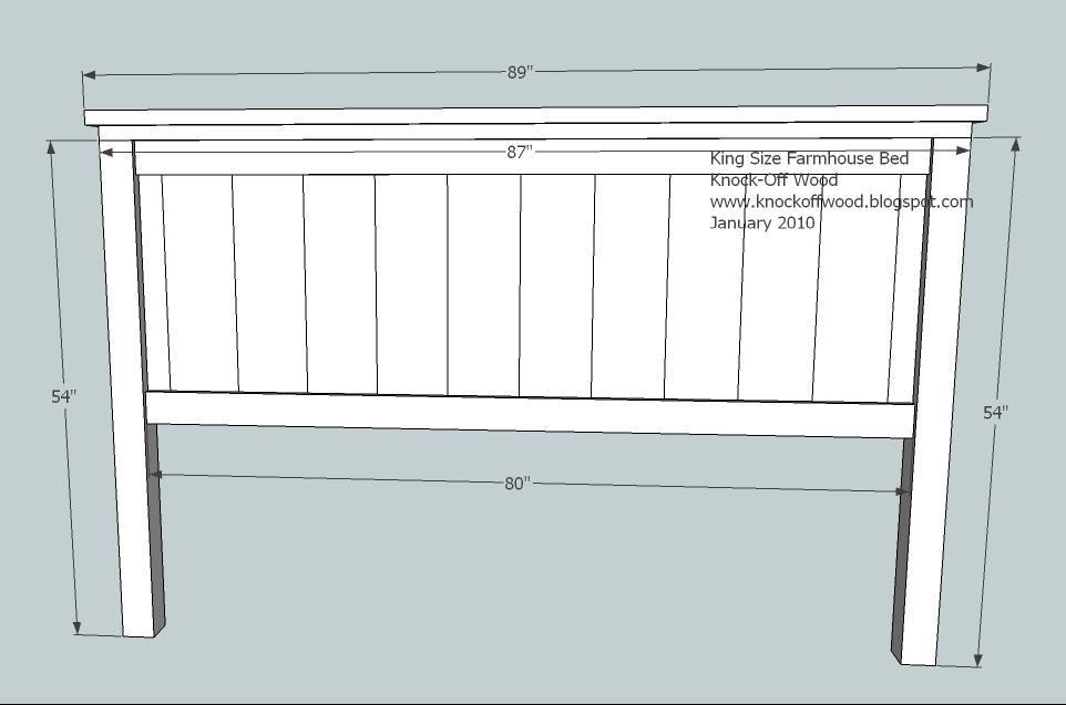 Farmhouse Bed Standard King Size Headboard Plan Diy Furniture