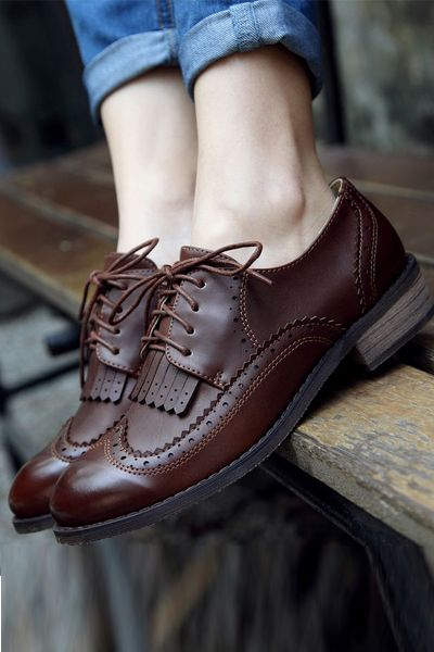 Womens  Sweet Retro Vintage Fashion College  Thick Heel Lace Up 2016 New Shoe