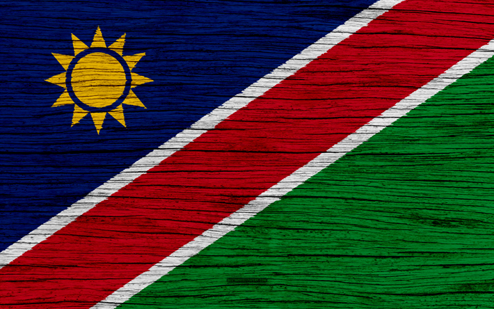 Download wallpapers Flag of Namibia, 4k, Africa, wooden