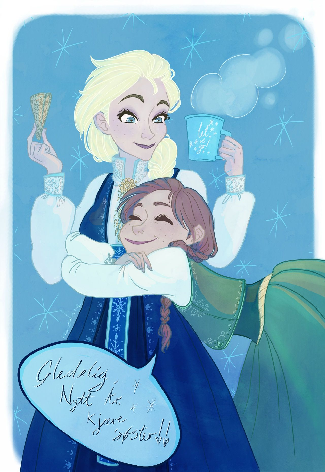 happy new year dear sister by freeliesdeviantartcom on deviantart elsa and anna from frozen in norwegian bunad the text is also norwegian