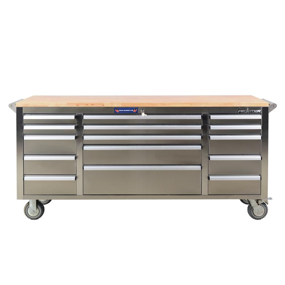 Frontier 72 In 15 Drawer Mobile Workbench Tool Chest Cabinet With Wooden Top In Stainless Steel Xtb7215bs The Home Depot Cabinet Organization Wooden Tops Mobile Workbench
