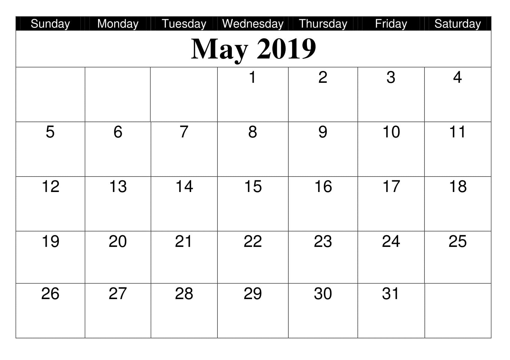 Editable May 2019 Calendar Printable Template in Portrait