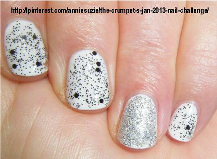 Day 1: Black & White. Essie Blanc. Nubar Black Polka Dots.