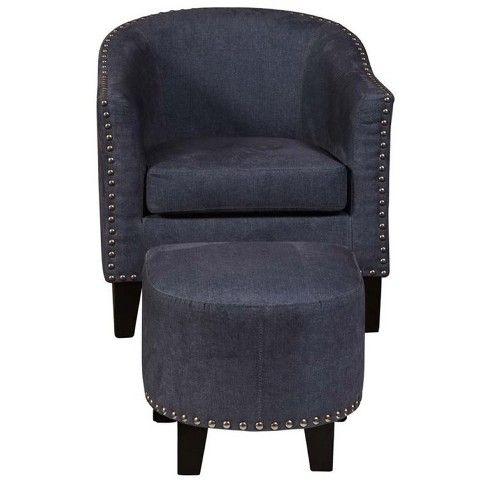 Best Accent Chair With Ottoman In Vintage Denim Blue Pemberly Row Target Chair Ottoman Accent 400 x 300