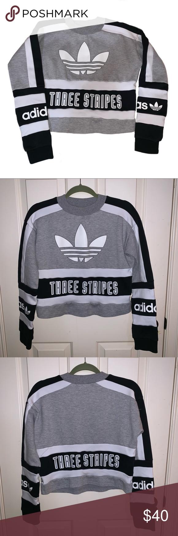 Adidas Three Stripes Cropped Crew Neck Adidas Three Stripes Stripes Pacsun Adidas [ 1740 x 580 Pixel ]