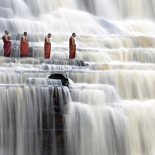 Waterfall monks