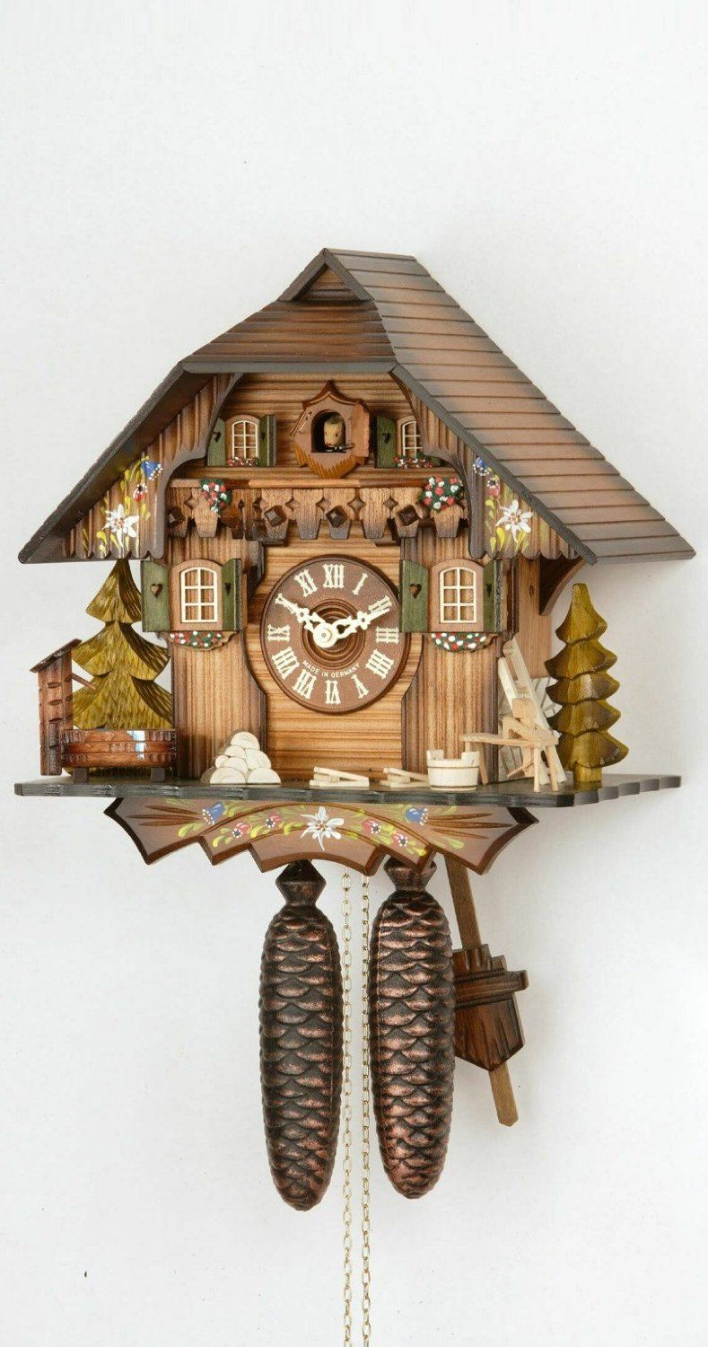 Amazon Com German Cuckoo Clock 8 Day Movement Chalet Style 13 Inch Authentic Black Forest Cuckoo Clock By Hekas Wall Clock