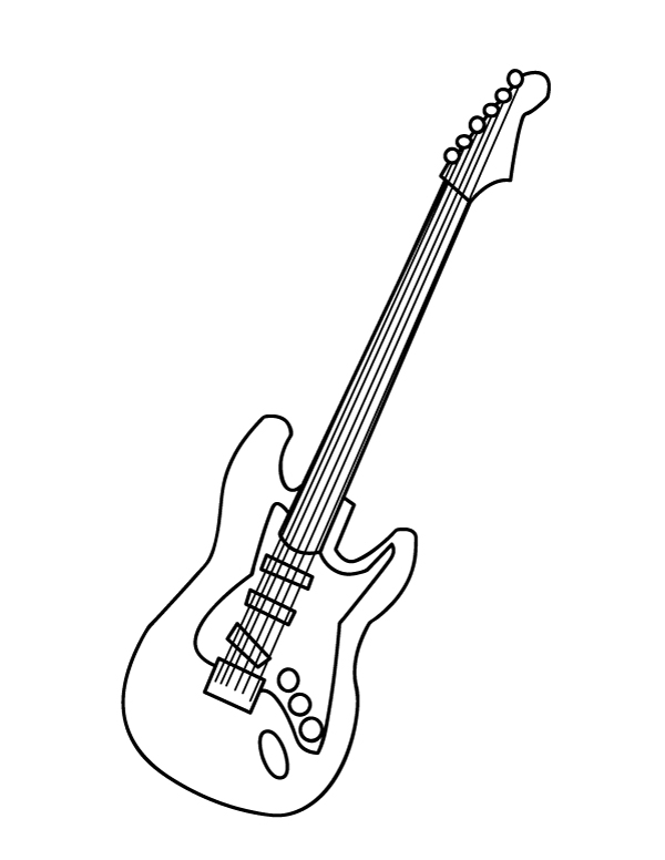 Printable Electric Guitar Coloring Page In 2020 Guitar Outline Electric Guitar Art Coloring Pages