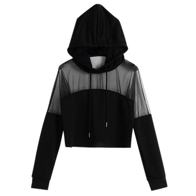 Mode Femmes Printemps Crop Tops Hooded Pullover Manches Longues See-through Patchwork Hoodies GM – Noir   – Women's Clothing Collection