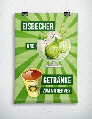Eisbecher und Getränke zum mitnehmen - Werbeplakat - Poster, P-FP-0029C   Plakate   Werbedesigns   Despri