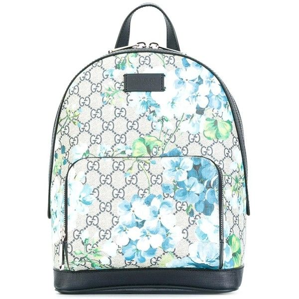 ead51c4322b9 Gucci floral print small backpack ($1,250) ❤ liked on Polyvore featuring  bags, backpacks, blue, white backpack, flower print backpack, blue bag,  floral ...