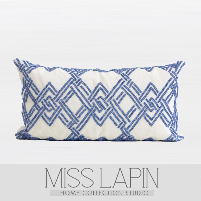 Miss Lapin新古典 样板房设计师靠包抱枕 蓝色菱格立体绣珠腰枕 Beaded Pillow Blue Pillows Decorative Handmade Decorative Pillow