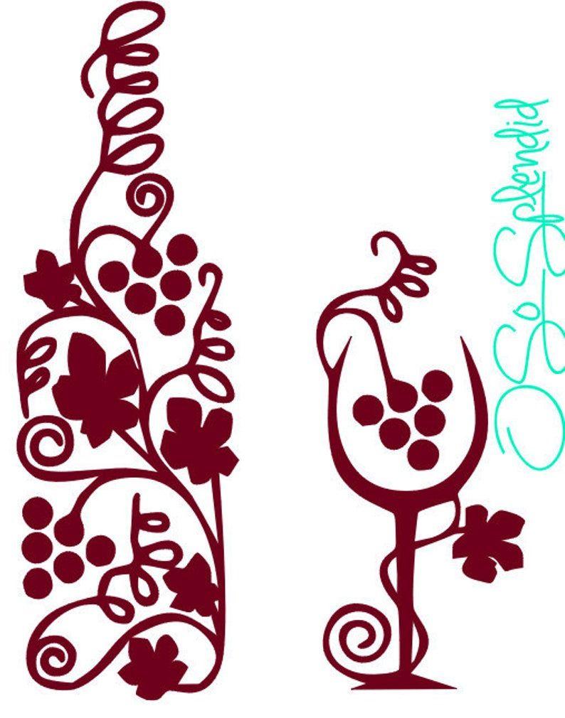 Decorative Wine Glass And Bottle Grape Leaves Grapevine Etsy Wine Art Grape Vines Cricut Crafts