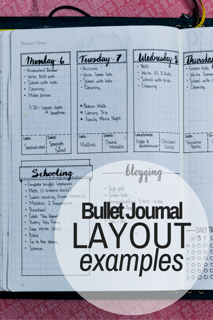 daily weekly and monthly bullet journal layout examples bullet journal and journaling. Black Bedroom Furniture Sets. Home Design Ideas