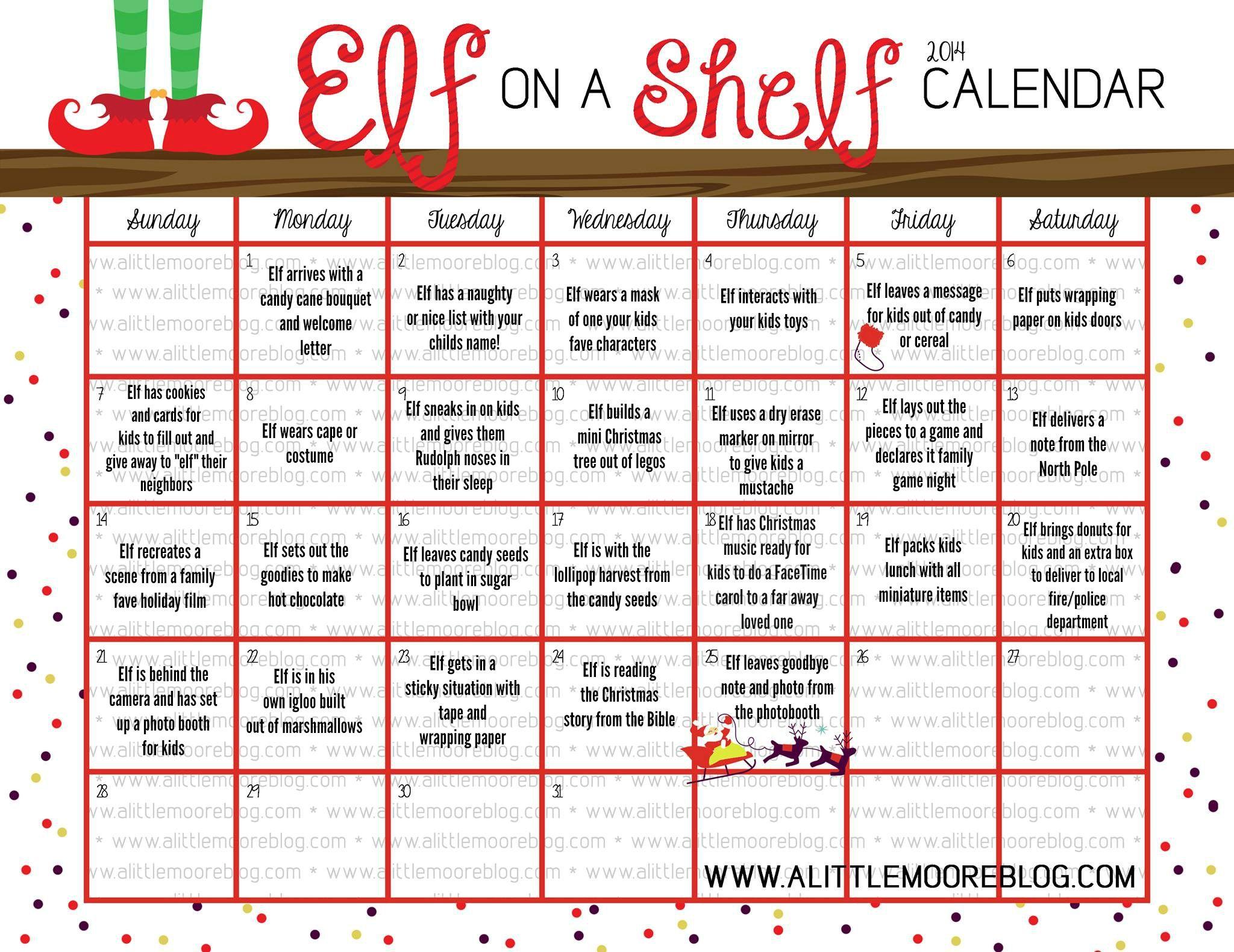 Elf on the Shelf 2014 Calendar Elf on the shelf, Elf on
