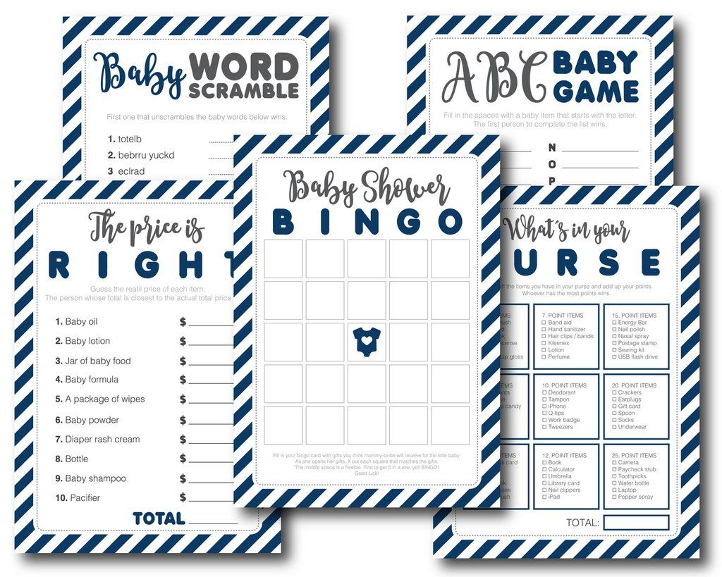 Navy Blue Printable Baby Shower Games Pack With Baby Bingo Word Scramble The Price Is Right
