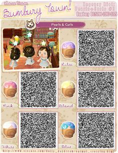 Animal Crossing Qr Codes Hair Pearls And Curls 2 Animal Crossing