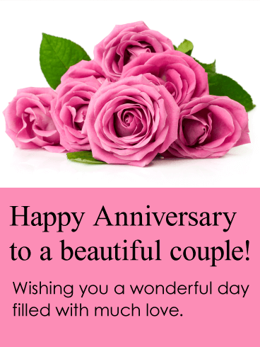 25th Wedding Anniversary Gift Certificate Template : card boasts big blooms of pink roses. A breathtaking anniversary card ...