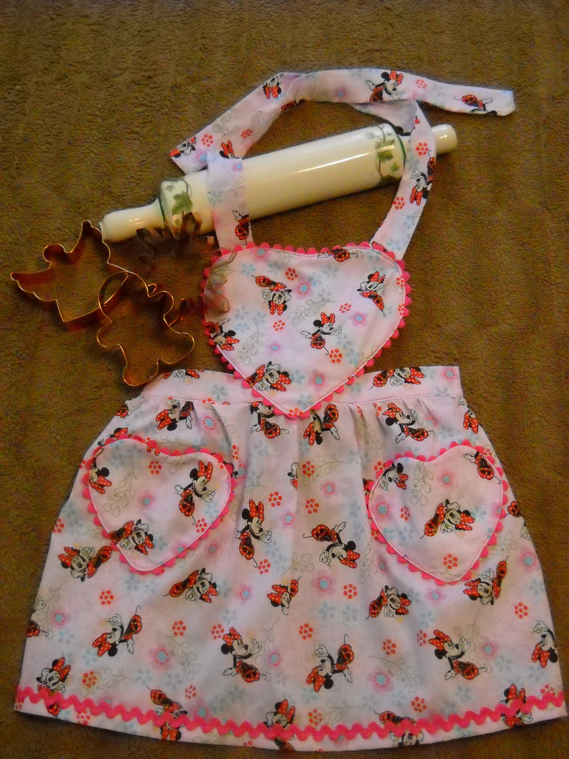 Pink minnie mouse youth apron small by dawnannsdesigns on etsy