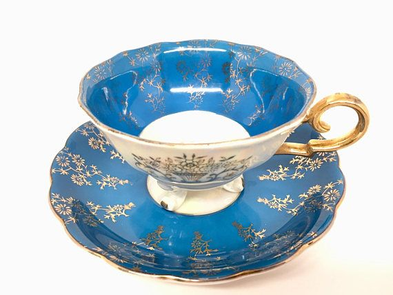 Iridescent Blue/Turquoise Teacup and Saucer, Porcelain, Three Footed, Opalescent, Made in Japan (see details)