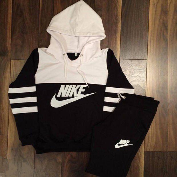 Womens NIKE Print Hoodie Top Sweater Pants Sweatpants Set Two-Piece  Sportswear 747786bb27