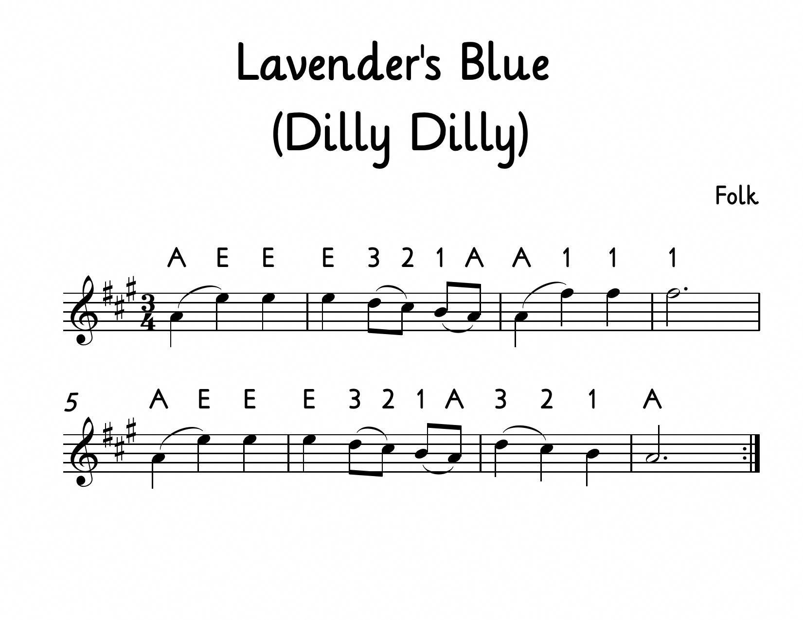 Lavender S Blue Dilly Dilly For Beginning Violin Download A Pdf