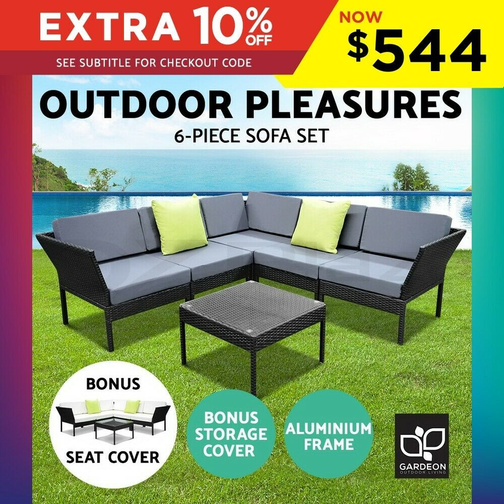 Details About Gardeon 6pc Outdoor Sofa Set Lounge Setting Wicker Patio Furniture Garden Black In 2020