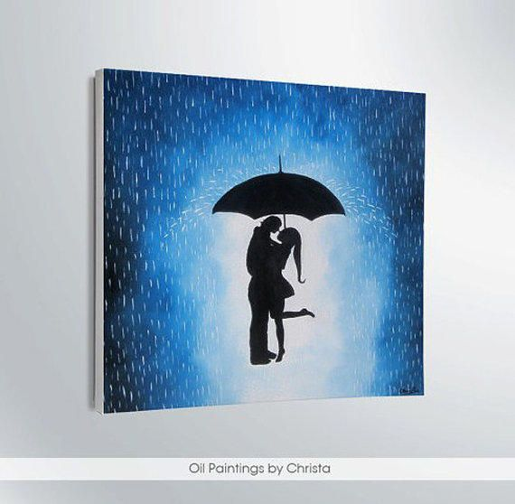 Art Couple Under The Umbrella Decor Artwork Home Gift Ideas Shadows Love Canvas Valentine Day USD By OilpaintingsChrista