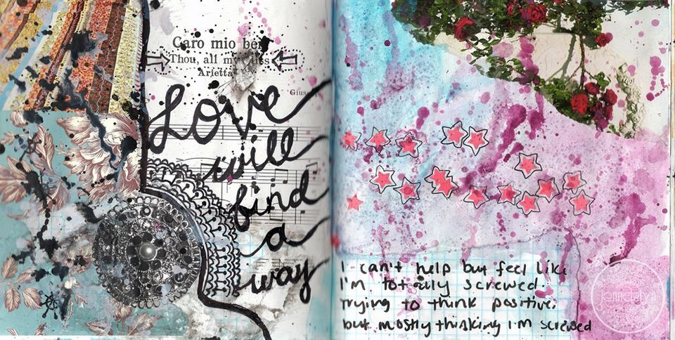 Mixed media art journal pages by jenndalyn mixed media