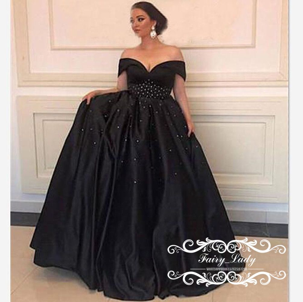 1bee146e5795d 2018 Black Formal Evening Dresses Wear Shiny Crystal Beading Off ...