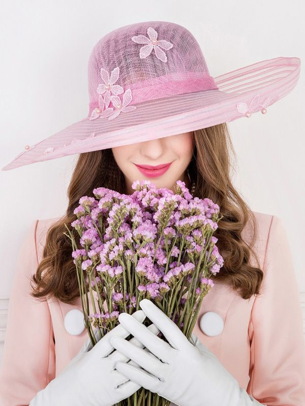 Flower Embroidery Faux Pearl Church Hat